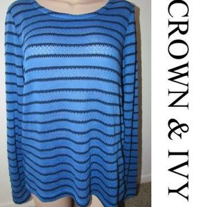 CROWN & IVY Striped Knit Top Blouse Sweater